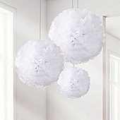 Set of 3 different sized White Pom Poms