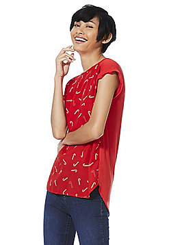 F&F Candy Cane Woven Front Top - Red
