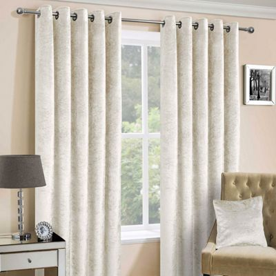 Cream Luxury Crushed Velvet Lined Eyelet Curtain Pair, 90 x 54