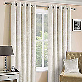Cream Luxury Crushed Velvet Lined Eyelet Curtain Pair, 90 x 54""