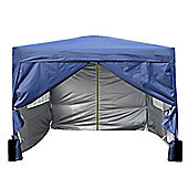 3x3m Pop-up Gazebo 2 Windbars waterproof coating layer Marquee Canopy With Sides (Blue)