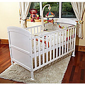 Baby Penelope Cot Bed White & Pocket Sprung Mattress/Quilted Topper.
