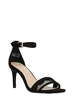 F&F Scalloped Mesh Strap Stiletto Sandals - Black