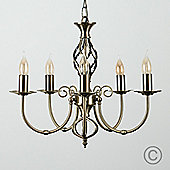 Memphis Twist 5 Way Chandelier Ceiling Light, Antique Brass