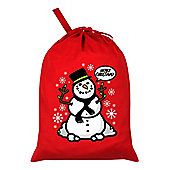Christmas Snowman Santa Sack 46x60cm, Red