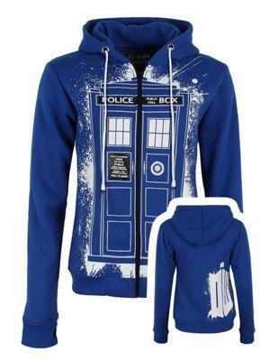 Doctor Who Tardis Graffiti Women's Dr Who Hoodie, Blue