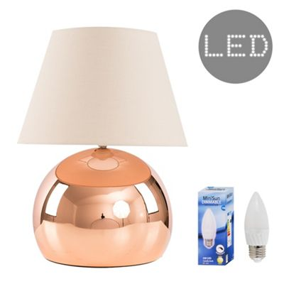 Mojo 40cm Touch LED Table Lamp - Copper & Beige