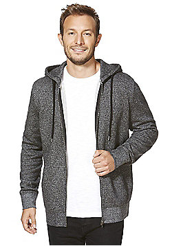 F&F Textured Zip-Through Hoodie - Charcoal
