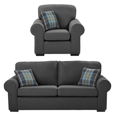 Earley Armchair + 3-Seater Sofa Set, Dark Grey