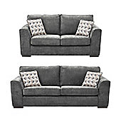 Boston 2.5-Seater + 3 Seater Sofa Set, Dark Grey