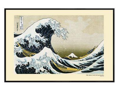 Katsushika Hokusai Gloss Black Framed The Great Wave of Kanagawa Poster