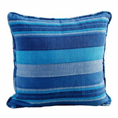 Homescapes Cotton Striped Blue Cushion Cover Morocco, 45 x 45 cm