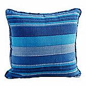 Homescapes Cotton Morocco Striped Blue Prefilled Cushion, 45 x 45 cm