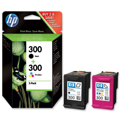 HP 300 Ink Cartridge Combo Pack containing 1 x HP No.300 Black Ink Cartridge + 1 x HP No.300 Tri-Colour Ink Cartridge