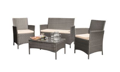 Beau Comfy Living Rattan Garden Furniture 4 Piece Set In Grey