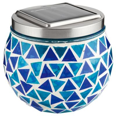 buy tesco blue mosaic solar table lamp from our solar. Black Bedroom Furniture Sets. Home Design Ideas