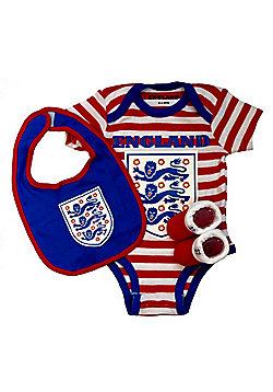 England Football Baby Gift Set, Bodysuit, Booties & Bib - Red Stripe - Red & White