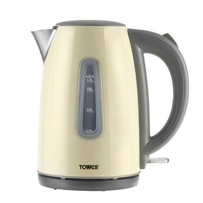 Tower Polished Stainless Steel Jug Kettle - Cream
