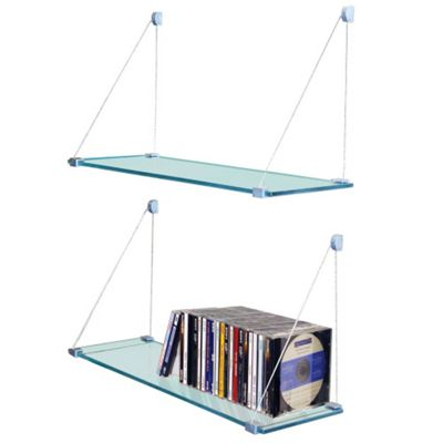 Techstyle Pair of Glass Suspension Storage / Display Shelves - Clear