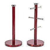 Morphy Richards 974029 Mug Tree & Towel Pole Set - Red