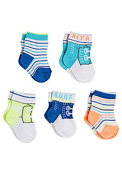 F&F 5 Pair Pack of Trainer Pattern and Striped Ankle Socks - Multi