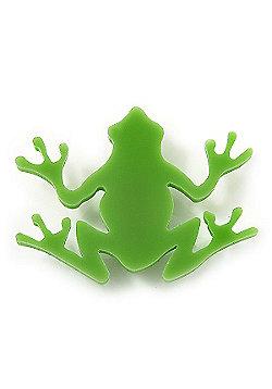 Lime Green Acrylic Frog Brooch