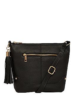F&F Tassel Trim Cross-Body Bucket Bag