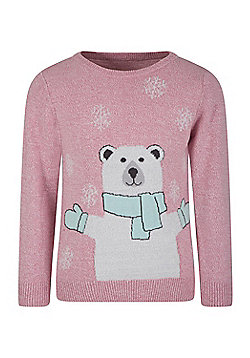 Mountain Warehouse Polar Bear Knitted Kids Jumper - Pink