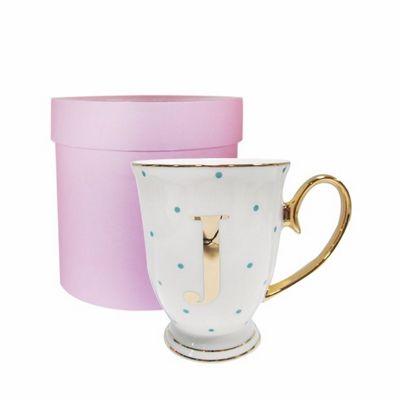 Bombay Duck Alphabet A to Z Spotty Mug Cup Gold Letter with Presentation Hat Box | Aqua Spots| Letter J