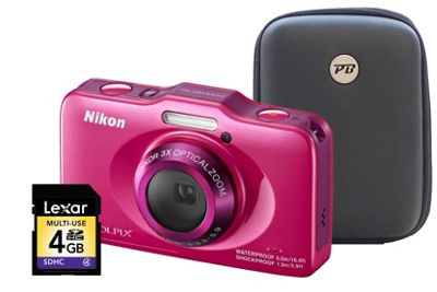 Nikon Coolpix S31 Pink Camera Kit inc 4GB SD Card and Hard Case