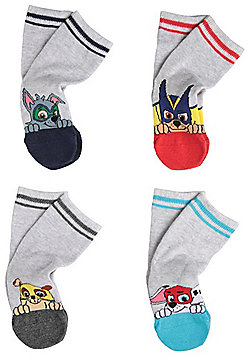 Nickelodeon 4 Pair Pack of Paw Patrol Ankle Socks - Grey/Multi