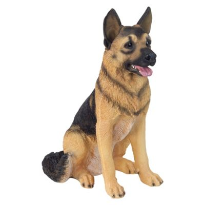Large Realistic 54cm Sitting German Shepherd Dog Polyresin Garden Ornament