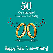 50th Wedding Anniversary Greetings Card - Gold Anniversary