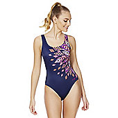 Zoggs Swimshapes Aztec Print Body Shaping Swimsuit - Navy
