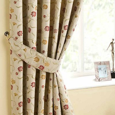 Homescapes Cream Curtains Tie Backs Pair Chintz Flowers