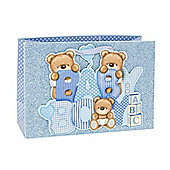 Baby Boy Blue Glitter Teddy Gift Bag
