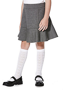 F&F School Frill Hem Jersey Skirt - Grey