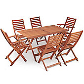 VonHaus 6 Seater Wooden Dining Set - Rustic Folding Table and 6 Chair Garden Set