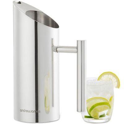 Andrew James Water Pitcher with Integral Ice Guard - 1L - Mirror Finish Stainless Steel