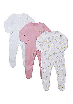 F&F 3 Pack of Floral and Bird Print Sleepsuits - Pink