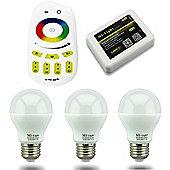 MiLight E27 6W RGB Colour Smart Light Starter Kit with Bridge, Remote and 3 Bulbs
