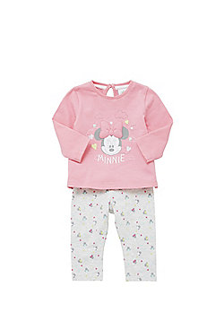 Disney Minnie Mouse Long Sleeve Top and Leggings Set - Pink & Grey