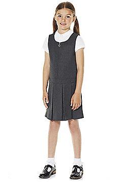 F&F School Girls Permanent Pleat Pinafore - Grey