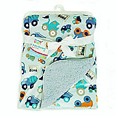 First Steps Construction Vehicles Supersoft Mink/Sherpa Reversible Baby Blanket