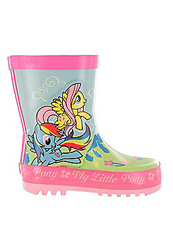 Girls MLP My Little Pony Green & Pink Floral Wellies Wellingtons UK Child Sizes 6 - 12 - Multi