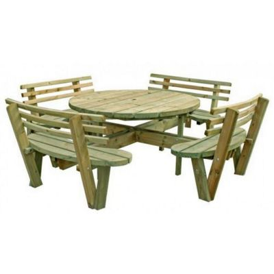 Large Round FSC Picnic Table with backrests