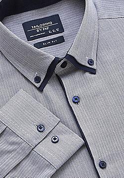 F&F Herringbone Double Collar Easy Care Slim Fit Shirt - Blue