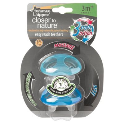 Tommee Tippee Closer To Nature Teether x2 Stage 1 3 months+