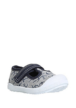 F&F My First Shoes Anchor Print T-Bar Shoes - Grey & Navy