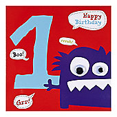 Monster Boys 1st Birthday Card